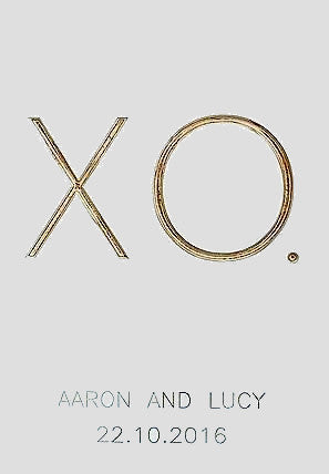 XO. - plus names and date - personalised wedding board