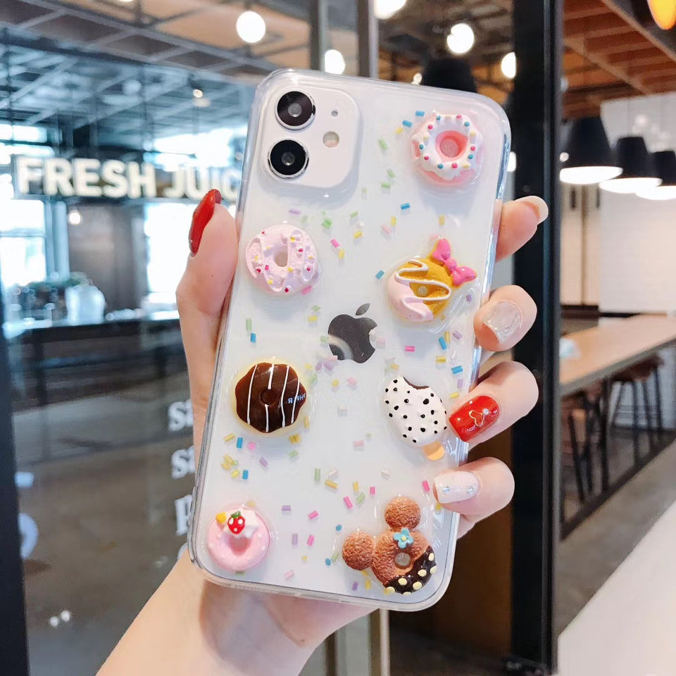 3D Food Cute Glitter Phone Case Cover For Apple iPhone 11 Pro X XS Max XR Soft TPU Back Cover for iPhone 7 8 Plus Cute Lovely Clear Case