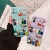 3D Bar Bear Drinks Bottle Phone Case Cover For Apple iPhone 11 Pro X XS Max XR Soft TPU Back Cover for iPhone 7 8 Plus Cute Lovely Clear Case