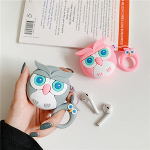 AirPods Cute 3D Cartoon Owl Silicone Case cover For Airpod 1/2