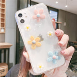 3D Flowers Glitter Phone Case Cover For Apple iPhone 11 Pro X XS Max XR Soft TPU Back Cover for iPhone 7 8 Plus Cute Lovely Clear Case