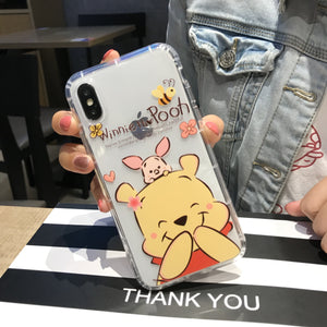 Cute Winnie Bear Phone Case For Apple iPhone 11 Pro X XS Max XR Soft TPU Back Cover for iPhone 7 8 Plus Cute Lovely Clear Case