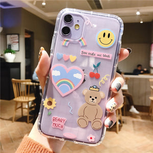 Cartoon Bear Phone Case For Apple iPhone 11 Pro X XS Max XR Soft TPU Back Cover for iPhone 7 8 Plus Cute Lovely Clear Case