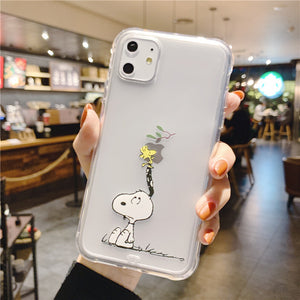 Cartoon Snoopy Phone Case For Apple iPhone 11 Pro X XS Max XR Soft TPU Back Cover for iPhone 7 8 Plus Cute Lovely Clear Case