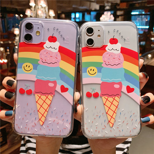 Rainbow Ice Cream Phone Case For Apple iPhone 11 Pro X XS Max XR Soft TPU Back Cover for iPhone 7 8 Plus Cute Lovely Clear Case