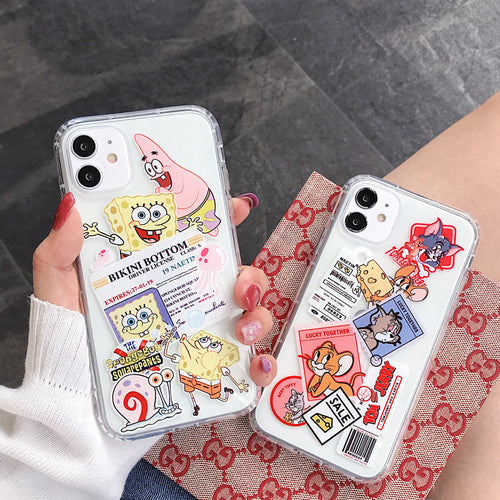 Cartoon Funny Phone Case For Apple iPhone 11 Pro X XS Max XR Soft TPU Back Cover for iPhone 7 8 Plus Cute Lovely Clear Case