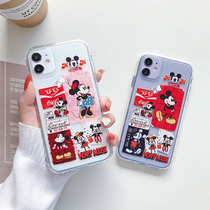 Cartoon Mickey Minnie Phone Case For Apple iPhone 11 Pro X XS Max XR Soft TPU Back Cover for iPhone 7 8 Plus Cute Lovely Clear Case