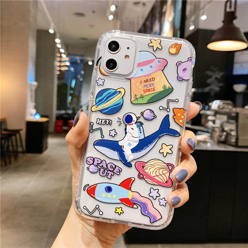 Cartoon Planet Phone Case For Apple iPhone 11 Pro X XS Max XR Soft TPU Back Cover for iPhone 7 8 Plus Cute Lovely Clear Case