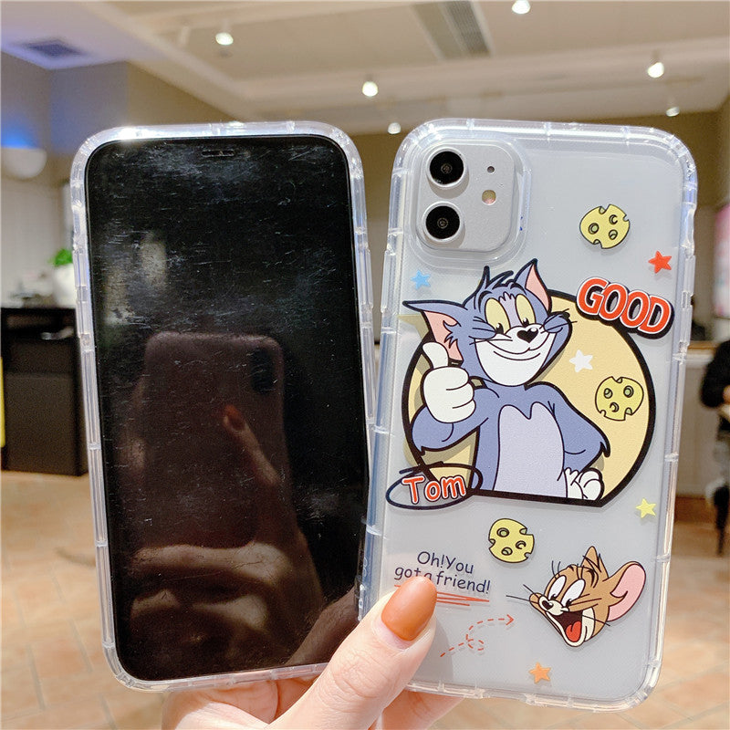 Cartoon Cat & Mouse Phone Case For Apple iPhone 11 Pro X XS Max XR Soft TPU Back Cover for iPhone 7 8 Plus Cute Lovely Clear Case