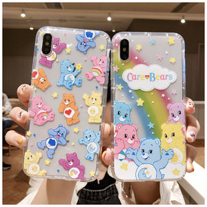 Rainbow Bear Phone Case For Apple iPhone 11 Pro X XS Max XR Soft TPU Back Cover for iPhone 7 8 Plus Cute Lovely Clear Case
