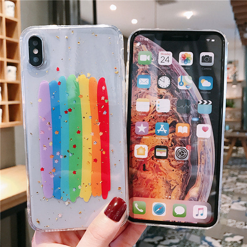 Shiny Stars Graffiti Rainbow Phone Case For Apple iPhone 11 Pro X XS Max XR Soft TPU Back Cover for iPhone 7 8 Plus Cute Lovely Clear Case