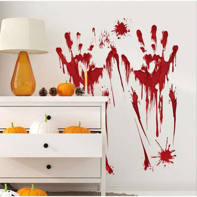 Horror Bloody Finger and Footprint  wall stickers