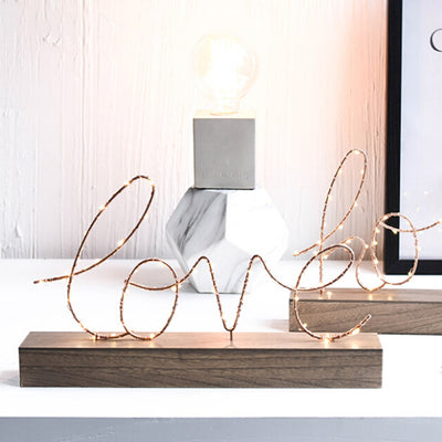 Home Decorative Figurines Ornaments LED Lamp Light LOVE Letters