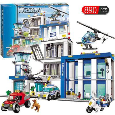 City Police Series Motorbike Car Helicopter Building Blocks legoingly City Police Station DIY Bricks toys for children boys