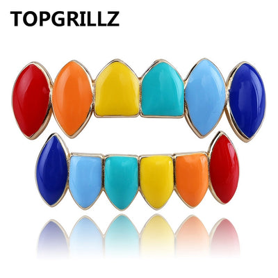 TOPGRILLZ Hip Hop Gold Tekashi69  Rainbow Teeth Grillz Top&Bottom Colorful Grills Dental Halloween Vampire Teeth