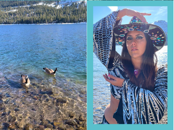 An image of the lake with geese and a model wearing Disco Lemonade Queen of Pentacles Disco Top and a black bedazzled hat