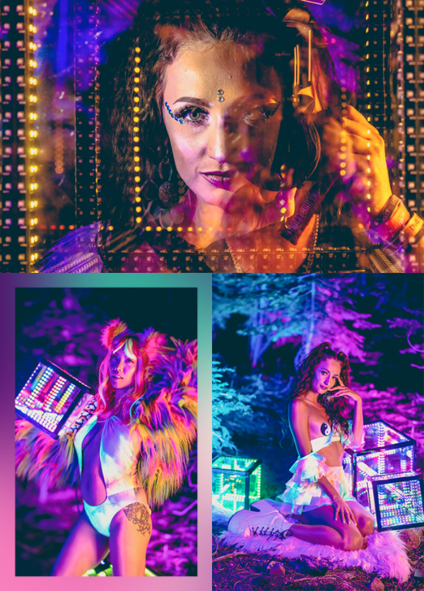 A collage of models wearing rainbow tie dye festival rave outfits posing with lit up cube lights