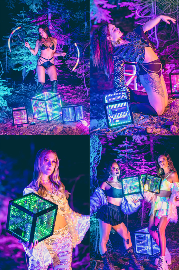 A collage of models wearing glittery festival rave outfits posing with lit up light cubes