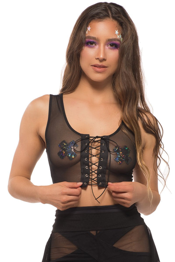 Pixie Top in Black Mesh, Tops; Little Black Diamond
