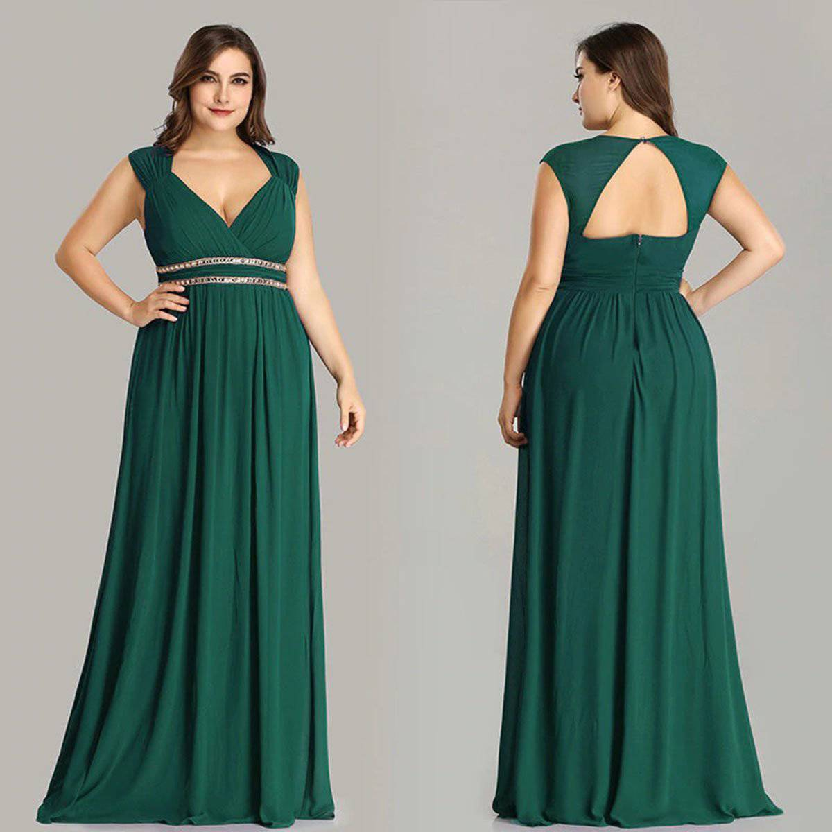 Ever-Pretty Plus Size Formal Dress: Elegant V Neck Party Gown