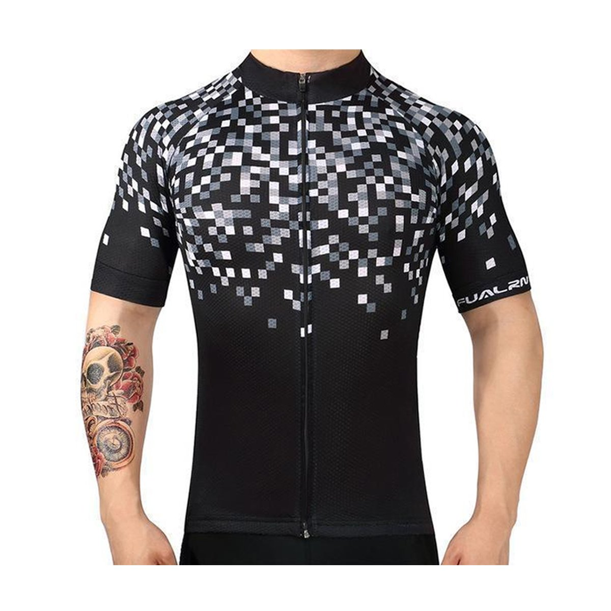 Pixelated Breathable Cycling Jersey Made of Quick-Drying Fabric