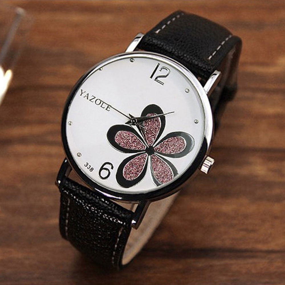 Leather Strap Flower Watch for Couple