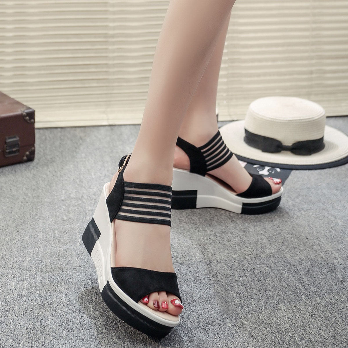 High Heel Fish Mouth Wedges Shoes