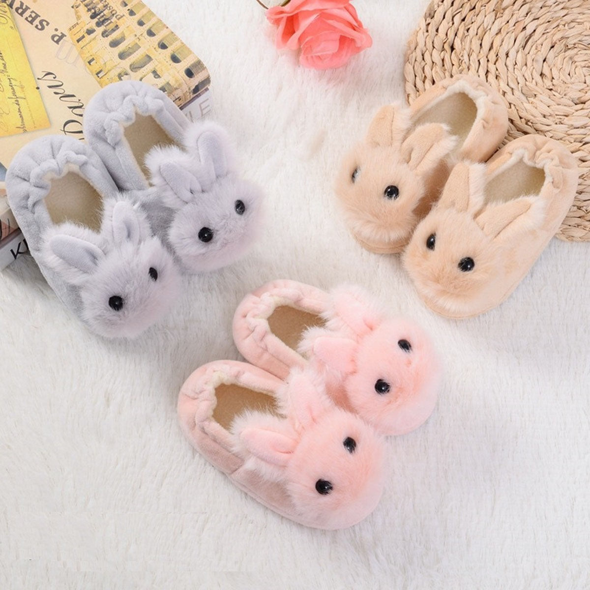 Cartoon Rabbit Winter Slippers for Kids