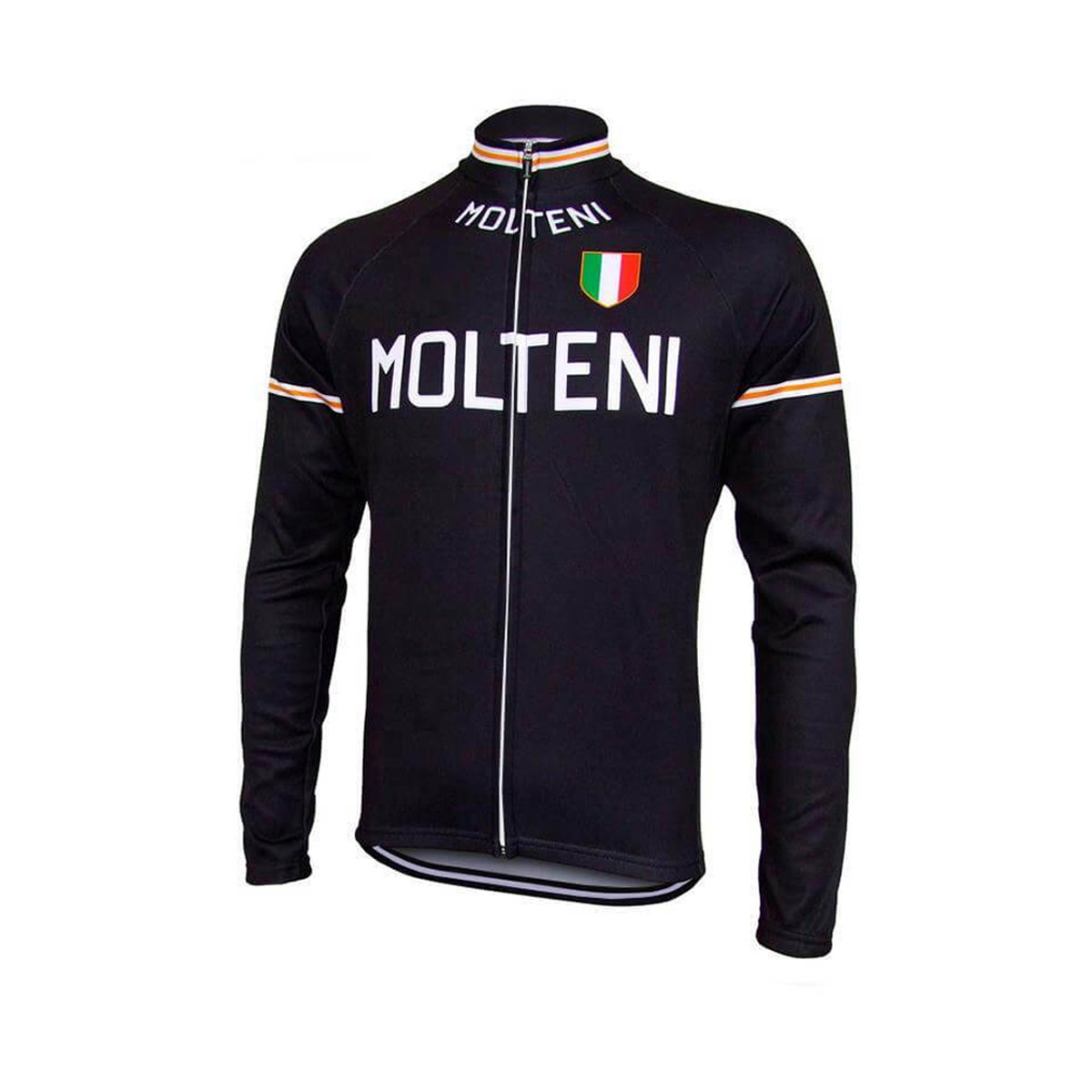 Stylish Full Zipper Long Sleeve Cycling Jersey with Back Pocket