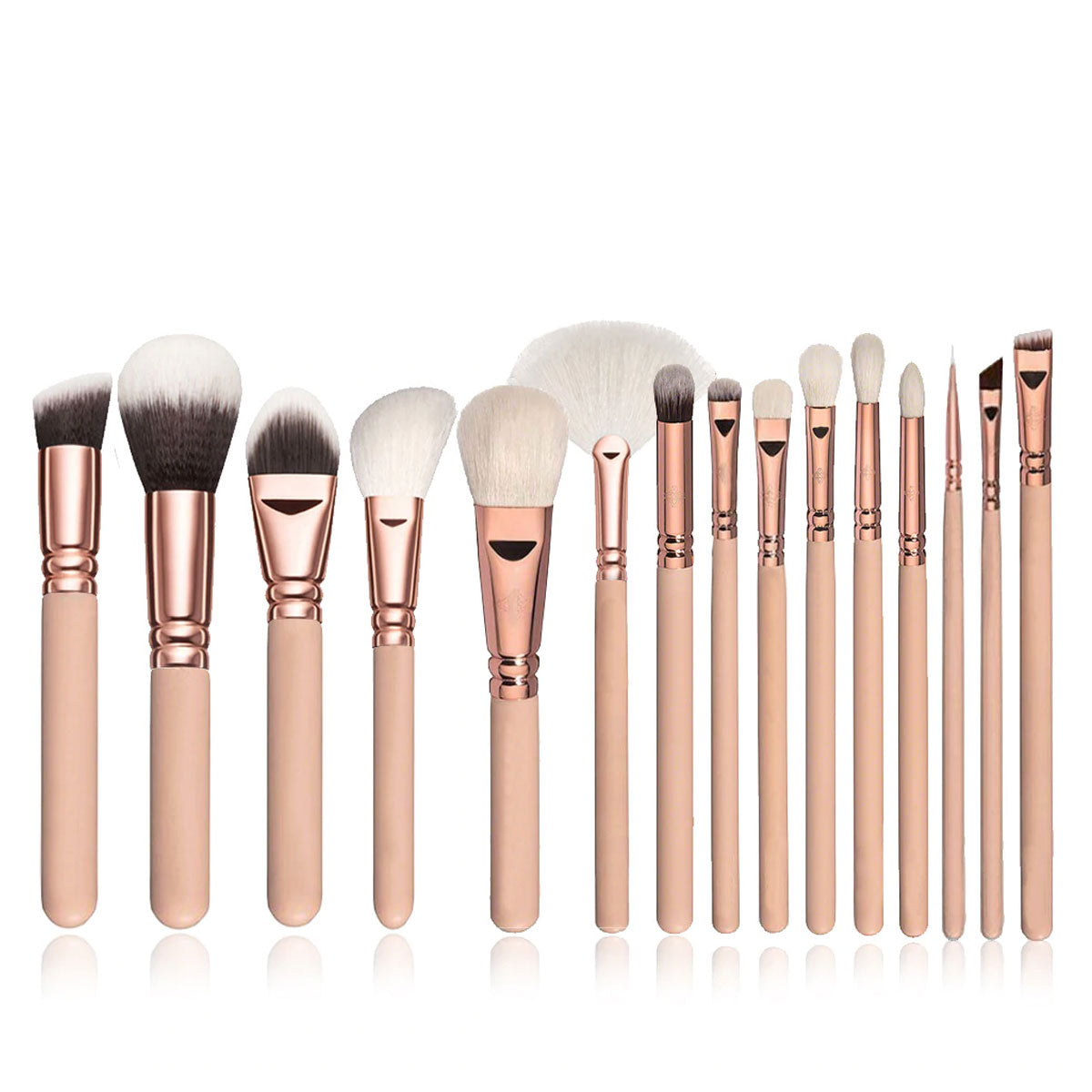 Ultra-Soft Pink Makeup Brushes Set with Wood Handles