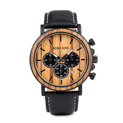 Luminous Wood and Stainless Steel Watches