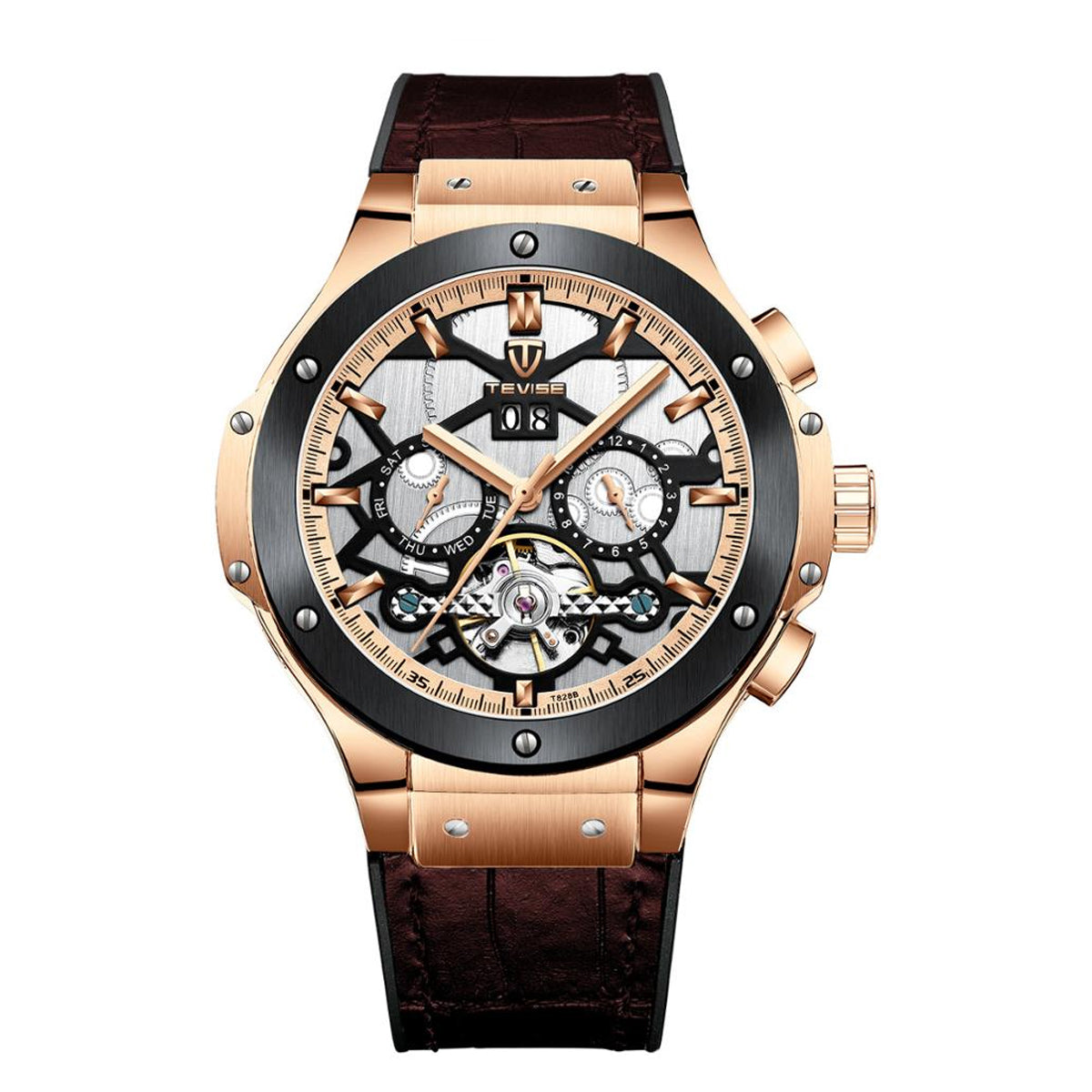 Men's Automatic Mechanical Fashion Watch with Leather Band
