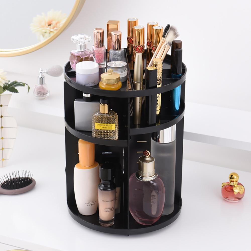 360° Rotating Plastic Makeup Organizer with Multiple Compartments