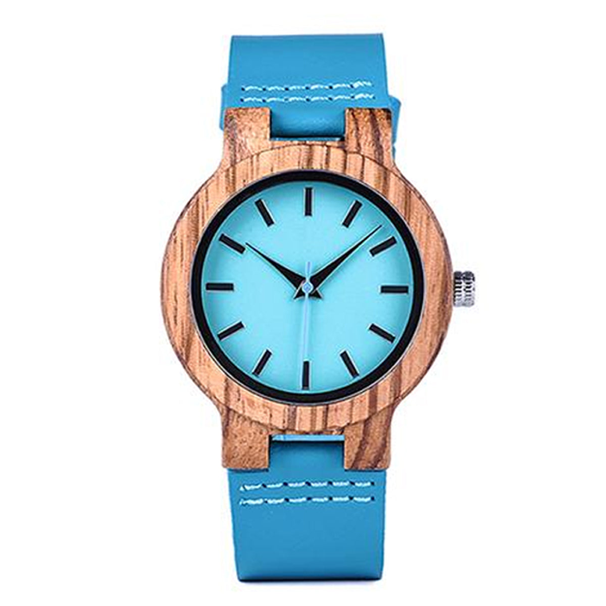 Handcrafted Analog Bamboo Wrist Watch with Genuine Leather Strap