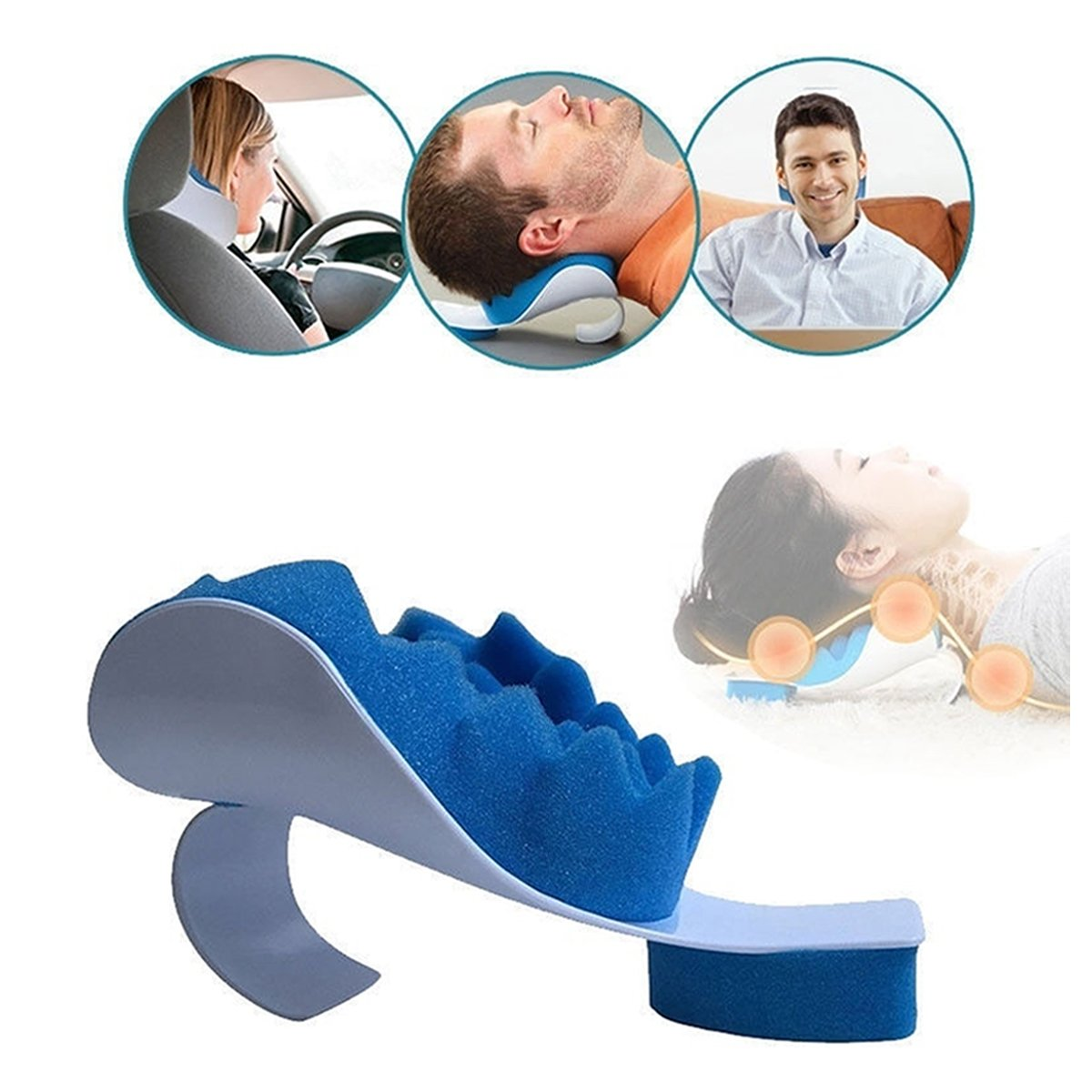 Inflatable Neck Pillow for Travel with Plastic & Sponge Filling
