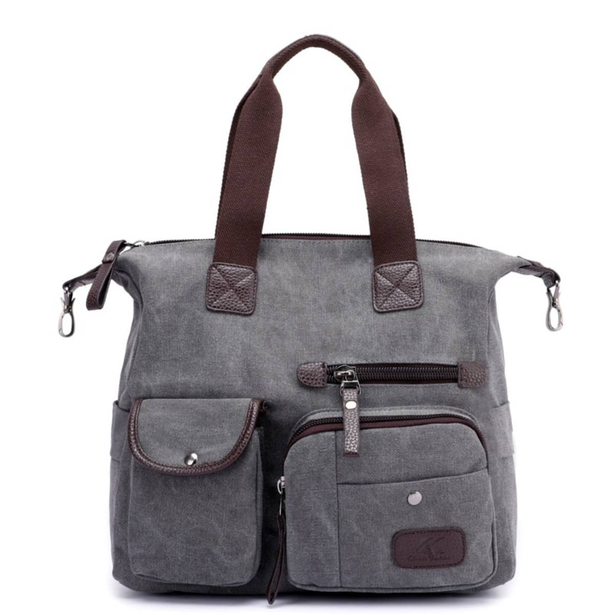 Large Multi-Pocket Women Handbags Made of High Quality Canvas