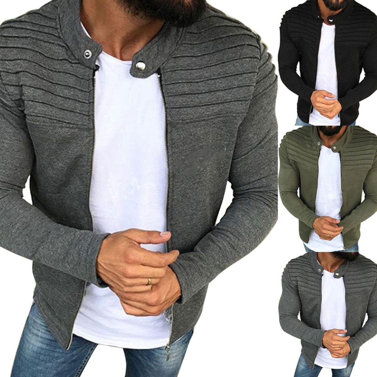 Modern Design Full Zip-Up Bomber Jacket Made of Durable Polyester