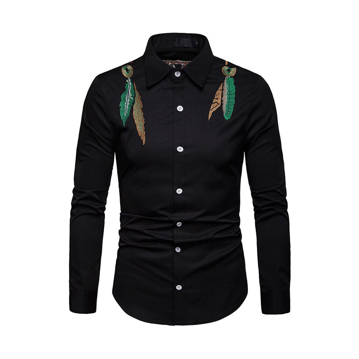 Embroidered Long-Sleeve Turned Neck Collar Black & White Shirt for Men
