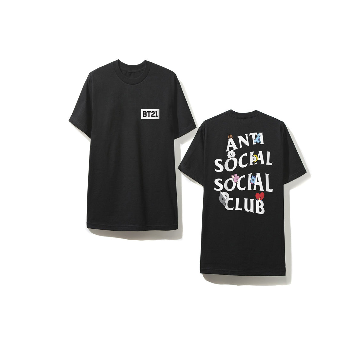 "Short Sleeve O-neck Collar Bt21 Shirt with ""Anti-Social Social Club"" Phrase"