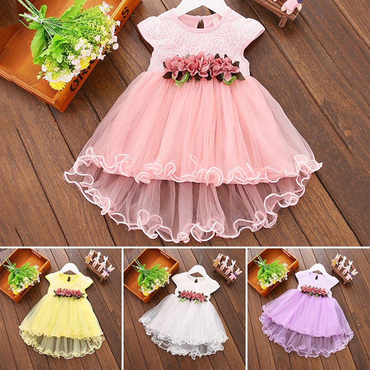 Cute Baby Princess Dress with Floral Ornaments