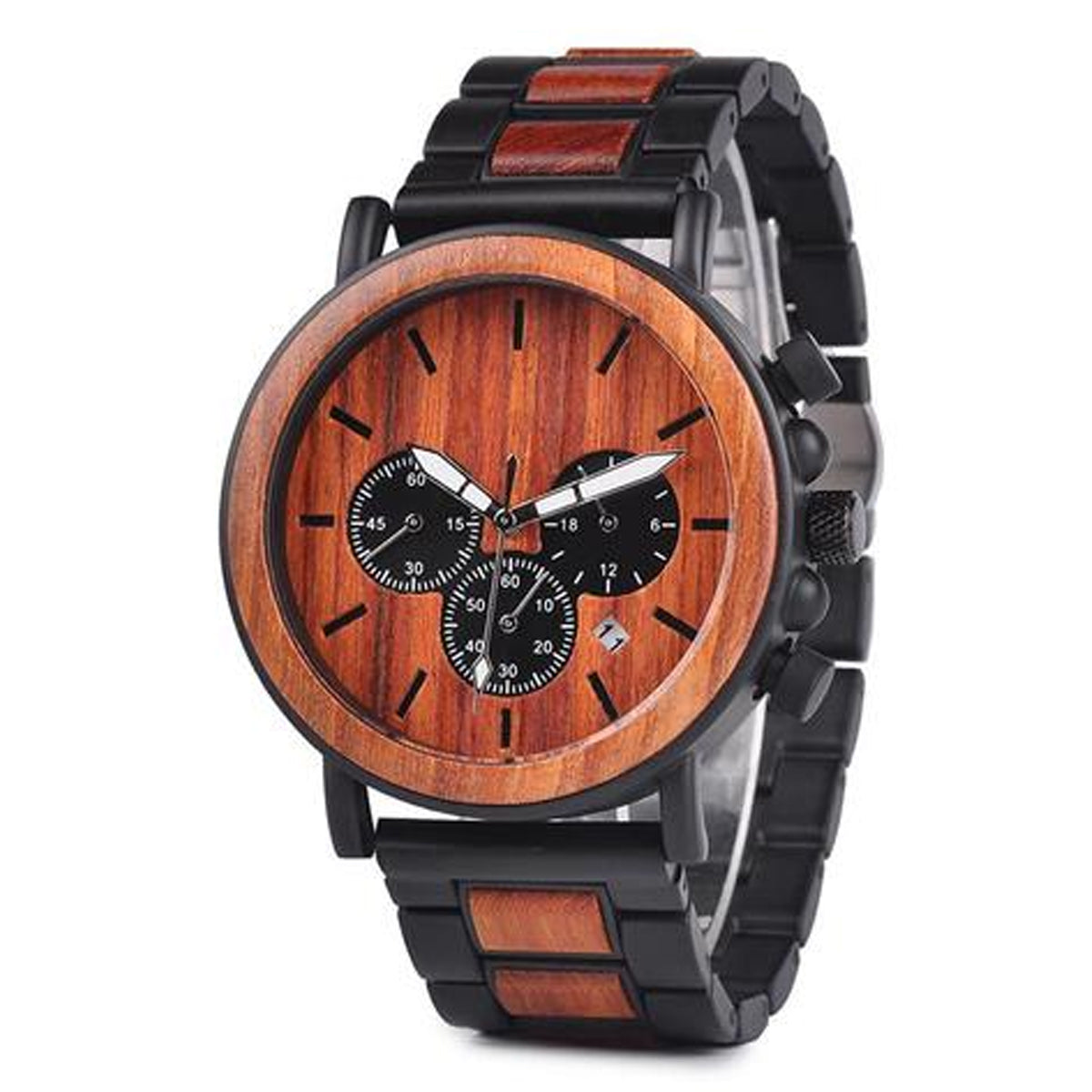 Handcrafted Luxury Antique Bamboo & Stainless Steel Watch