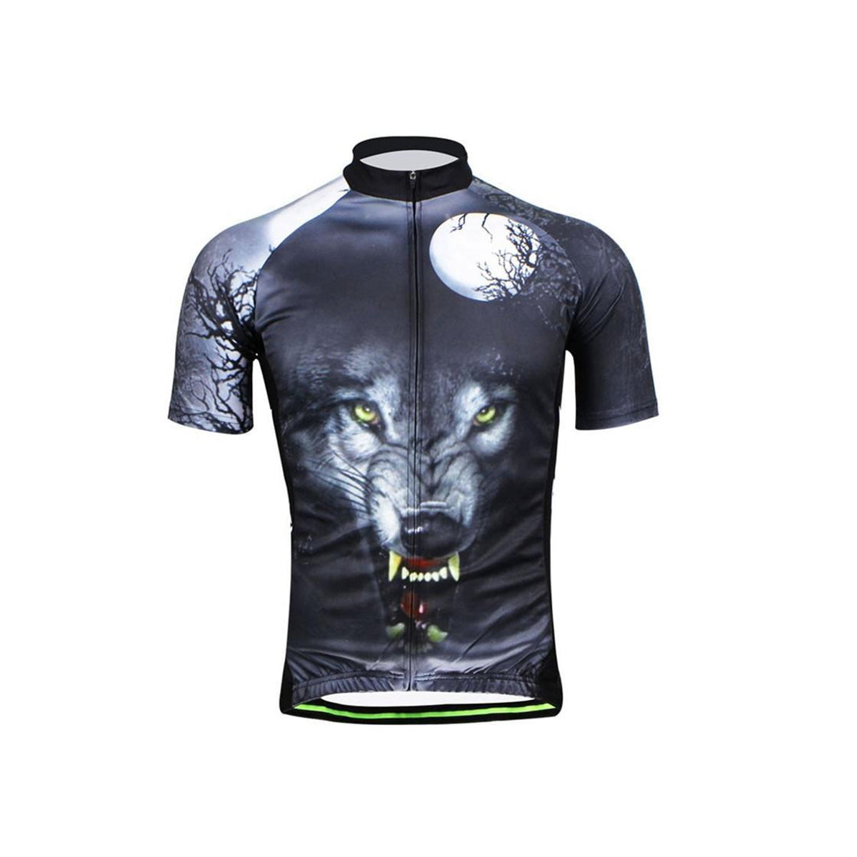 Wolf Print Breathable Cycling Jersey with Invisible Zipper Design