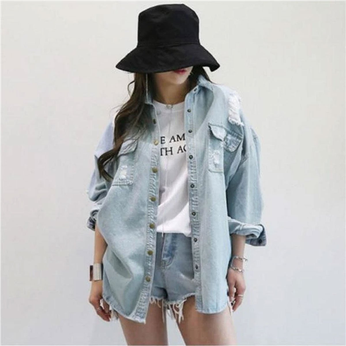 Free Size Full-Sleeves Fashionable Denim Jacket Women's Wear