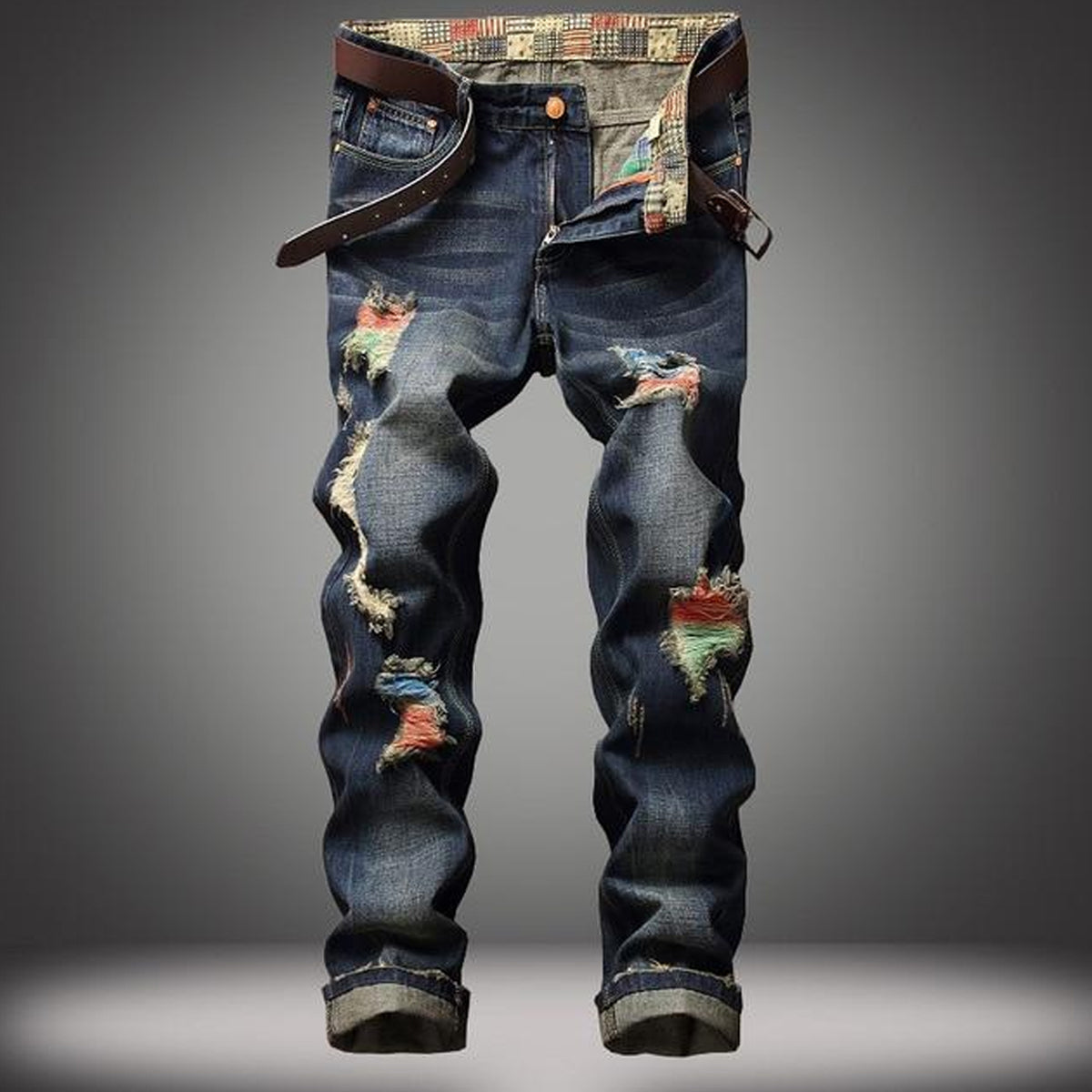 Dark Men's Denim Washed Full Length Jeans with Patchwork Design
