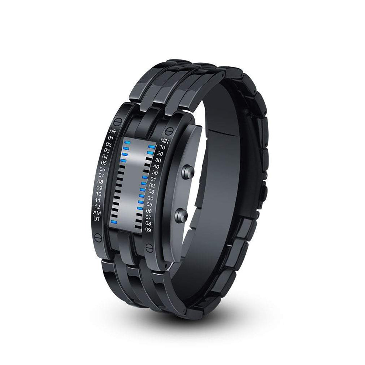 Japanese Quartz Digital Futuristic Wrist Watch with a Double Open Steel Buckle