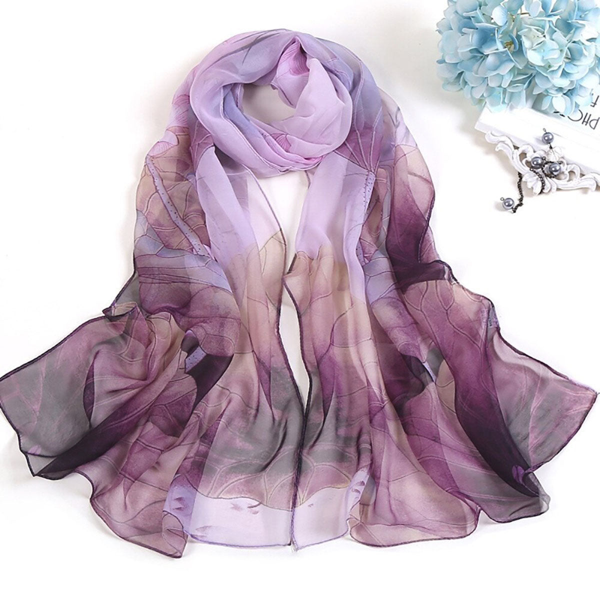 High Quality Lotus Printing Ladies Scarf