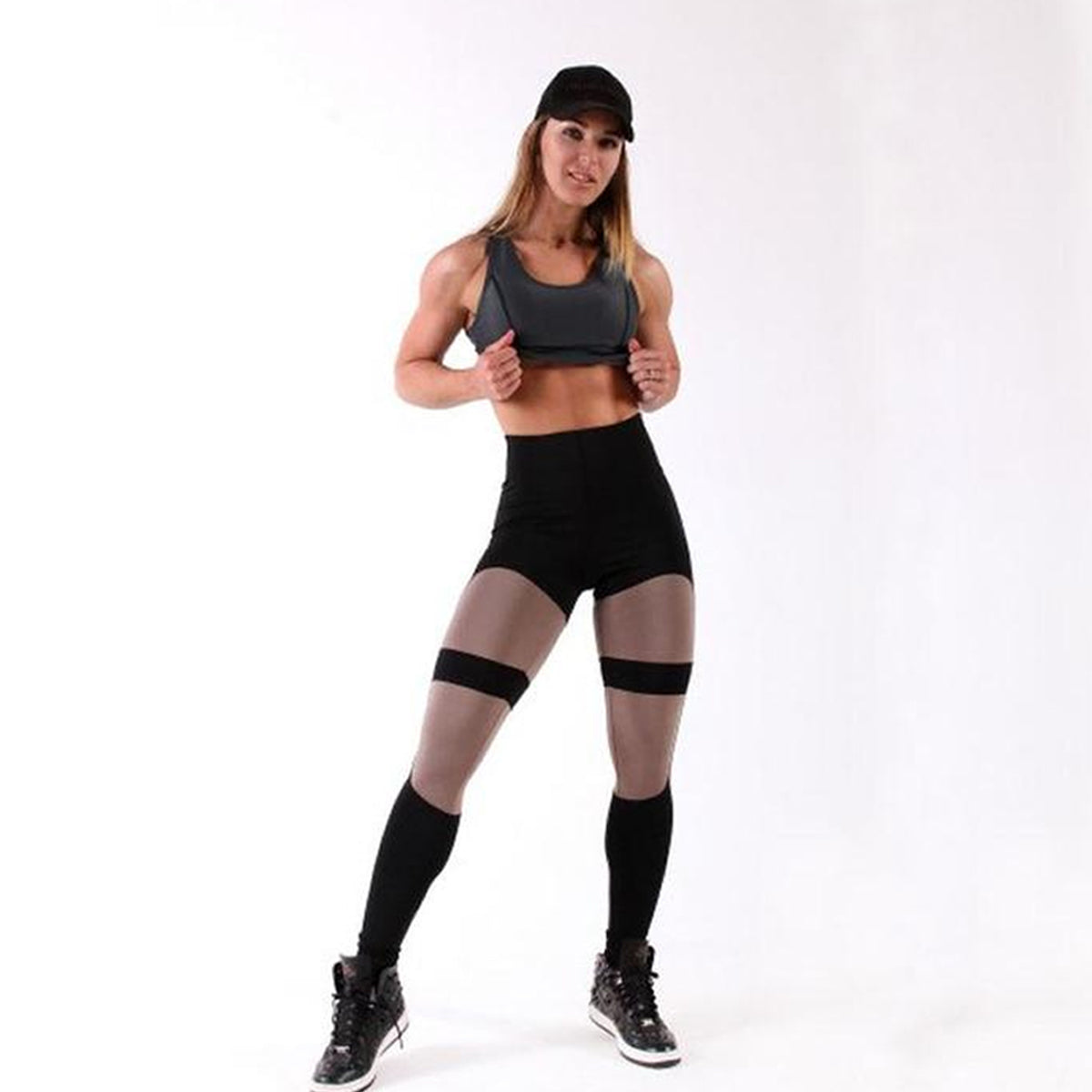 Soft Skin-Friendly Elastic Spandex High-Waist Fitness Leggings
