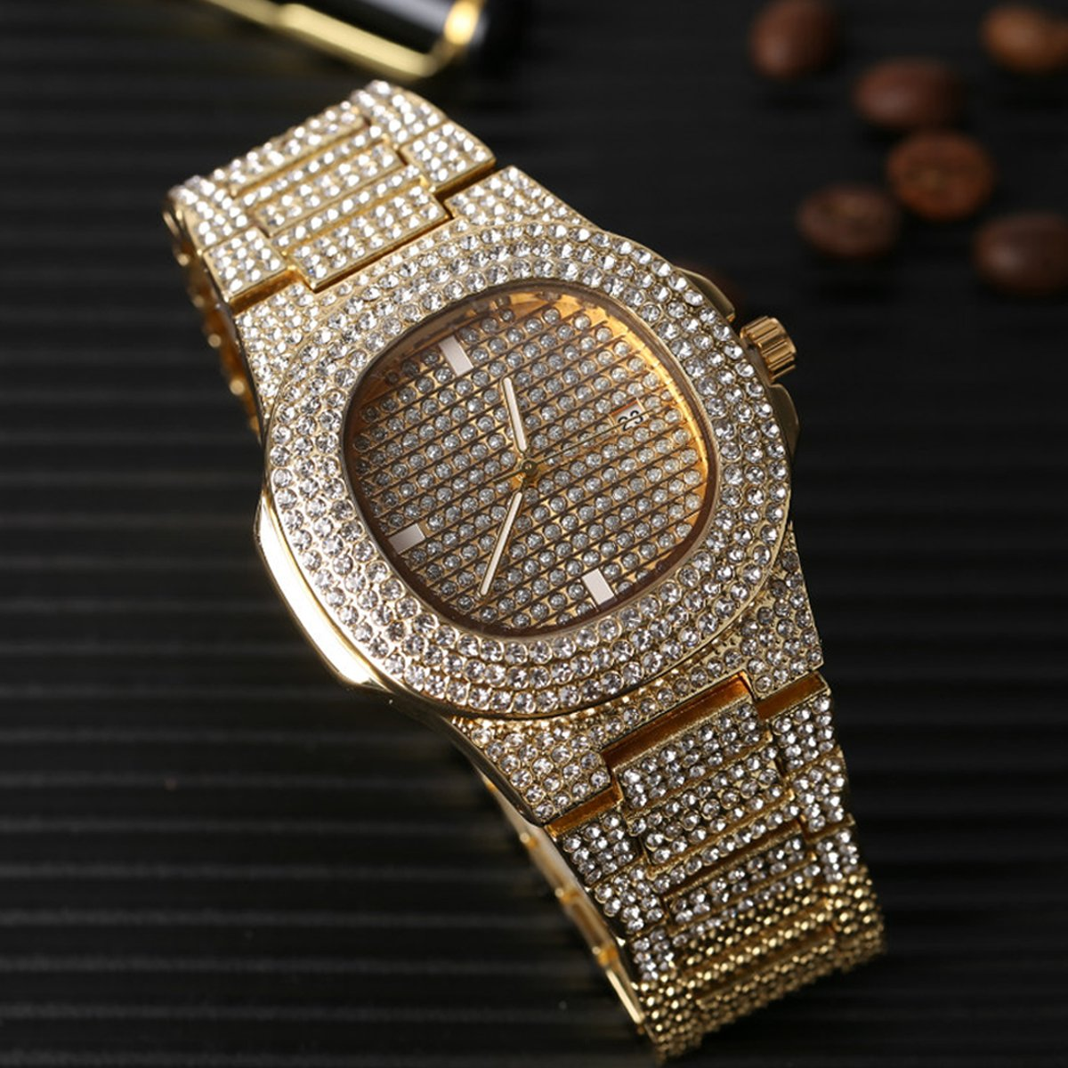 Bracelet Clasp Hip Hop Diamond Jewelry Waterproof Luxury Fashion Watch