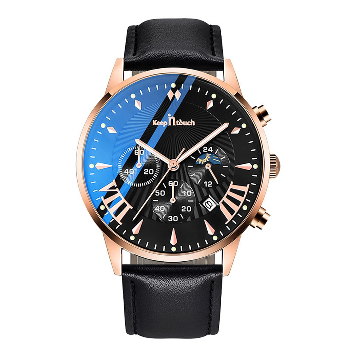 Stylish Waterproof KEEP IN TOUCH Men's Watch with Luminous Effect
