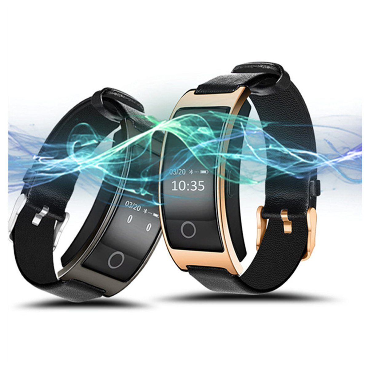 Multifunctional Life Wrist Watch with Skin-friendly Leather Strap & LED Screen